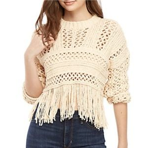 🌸Free People Higher Love Cropped Fringed Sweater